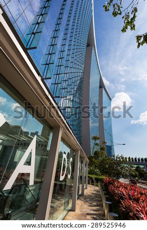 SINGAPORE - FEBRUARY 27, 2015: view of Marina Bay Sands. Marina Bay Sand is one of the most famous tourist attraction in Singapore.