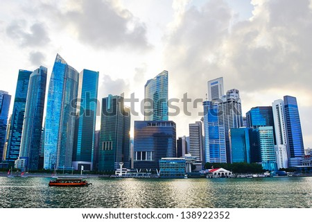 Singapore financial center in the sunset