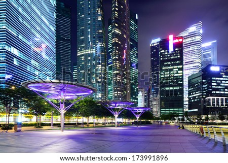 Singapore financial district - stock photo