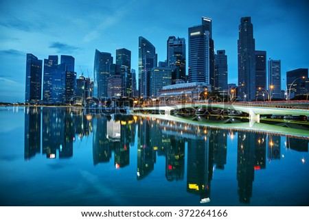 Singapore financial district at the sunset time - stock photo