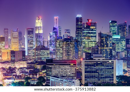Singapore Financial District skyline at night. - stock photo