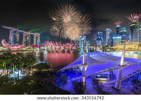 Singapore firework with laser show - stock photo