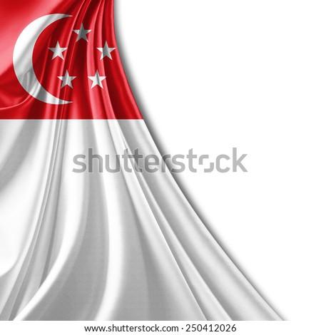 Singapore flag and white background - stock photo