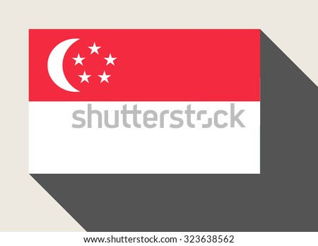 Singapore flag in flat web design style. - stock photo