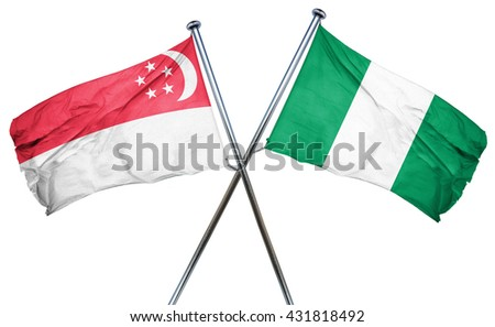 Singapore flag with Nigeria flag, 3D rendering