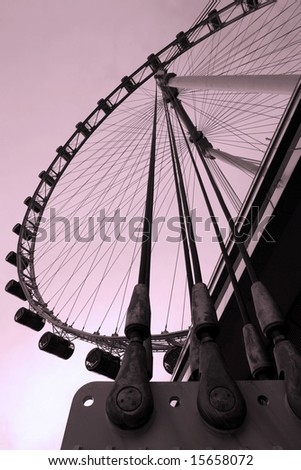 Singapore Flyer in the evening sky