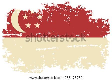 Singapore grunge flag. Raster version - stock photo