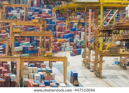 Singapore harbor with truck, container box, for lojistic, transportation, delivery and import and export job. - stock photo