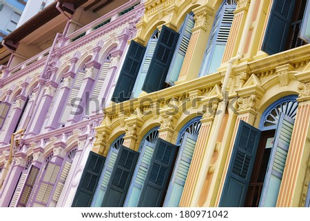 Singapore, historical buildings - stock photo