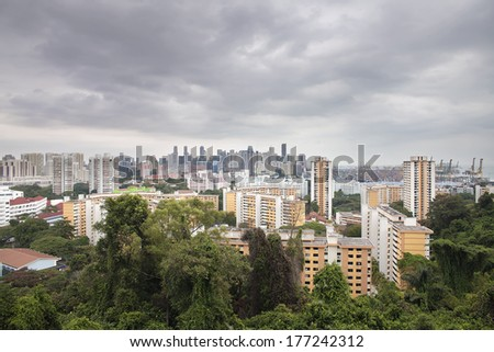 Singapore Housing Estate Cityscape with Port of Singapore and Central Business District - stock photo