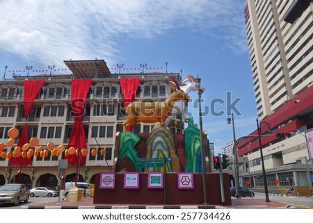 SINGAPORE - JAN 30: Goat lantern displayed for Chinese New Year Celebration for year of the Goat in Chinatown,Singapore on January 30, 2015. Singapore Chinatown is a world famous shopping destination.
