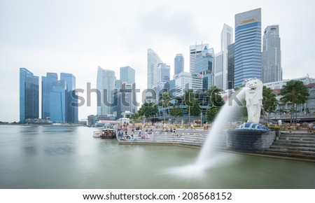 SINGAPORE - 1 JAN, 2014: Marina Bay central business district in Singapore. The most visited area  by tourists and travelers in the city  - stock photo