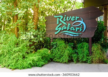 SINGAPORE-JAN 10, 2016: River Safari sign at Singapore Zoo. This 12 hectares river-themed zoo and aquarium is an Asia's First and Only River-Themed Wildlife Park, attracts 1M visitors per year - stock photo