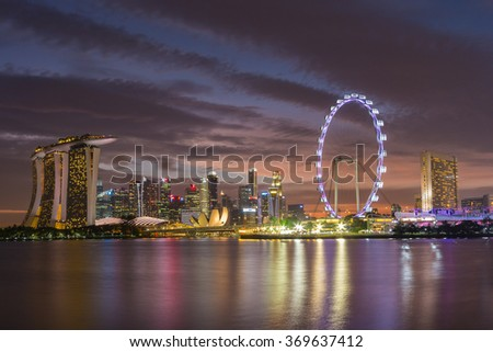 SINGAPORE - JAN 23 , 2016 : Singapore's Marina Bay area. View overlooking the tourist and business district of Singapore.