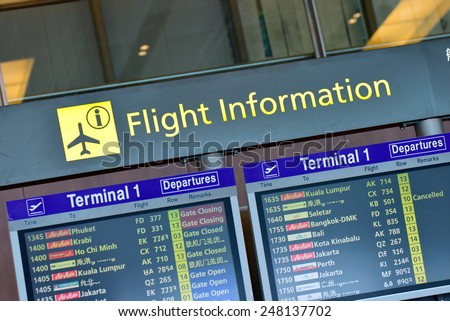 SINGAPORE - JANUARY 10:  Flight information display panel showing departing flights at Changi Airport on January 10, 2015 in Singapore - stock photo
