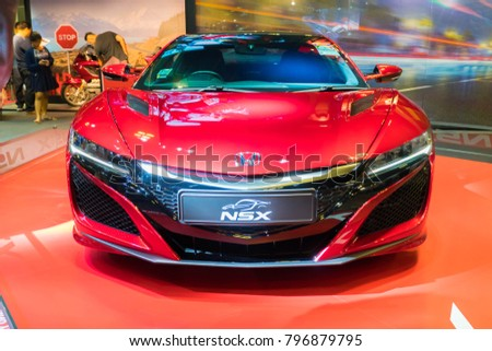 SINGAPORE   JANUARY 14, 2018: Honda NSX At Motorshow In Singapore.