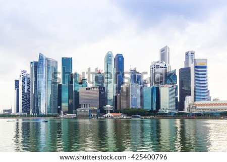 Singapore, 2016 January 14: Landscape of the Marina Bay financial district and business building