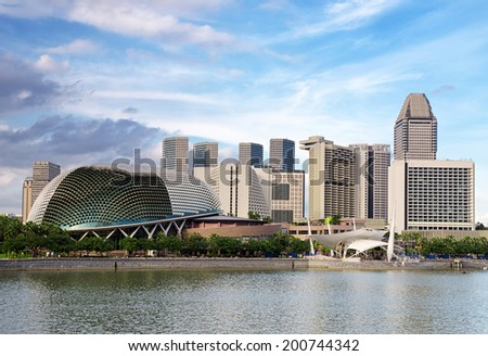 SINGAPORE - JANUARY 2: View of Marina Bay architecture on January 2, 2011 in Singapore. Marina Bay is famous destination in Singapore. - stock photo