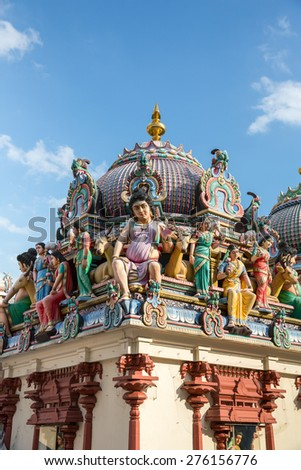 Singapore - January 6, 2015: View of the Sri Mariamman, a Hindu Temple in Singapore.