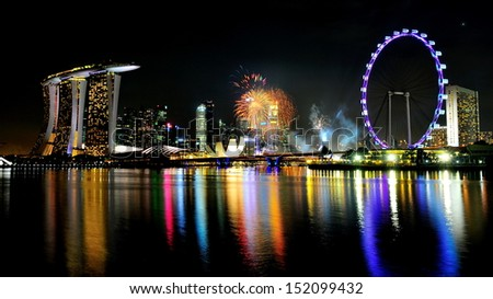 SINGAPORE - JULY 27: Fireworks display during National Day Parade (NDP) Rehearsal 2013 on July 27, 2013 in Singapore