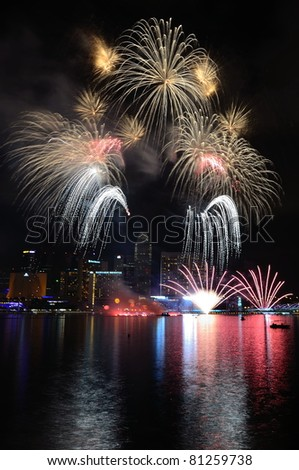 SINGAPORE - JULY 2: Fireworks display during National Day Parade Singapore 2011 CR3 on July 2, 2011 in Singapore.