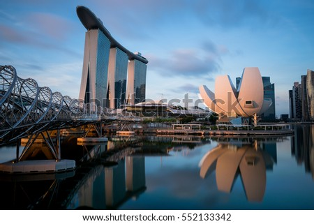 Singapore - 16 July 2016 : The remarkable Helix bridge and Marina bay sand