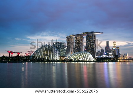 Singapore - 16 July 2016 : The remarkable of skyscrapers in Singapore at sunset time
