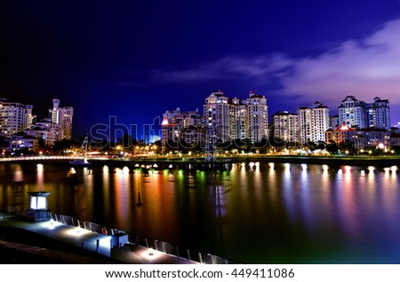 Singapore - July,2016:View from the National Stadium towards Kallang river in night in Singapore,2016.Editorial.Horizontal view.