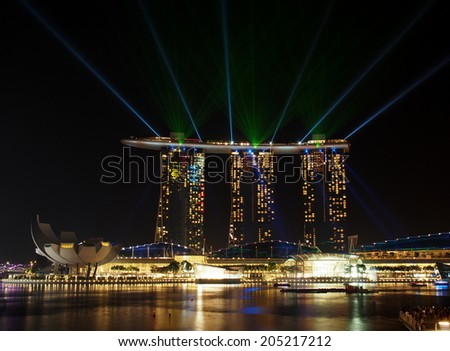 SINGAPORE - JUN 23 : Wonder Full at Marina Bay Sands in Singapore on June 23, 2014. Wonder Full is the largest light and water spectacular in Southeast Asia. - stock photo