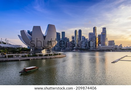 SINGAPORE - JUNE 26: ArtScience Museum in Marina Bay, Singapore on June 26, 2014. It is the world's first ArtScience museum. - stock photo