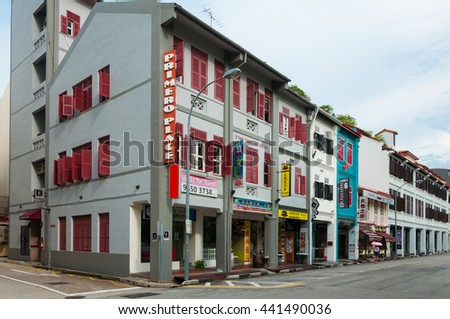 SINGAPORE - JUNE 22, 2016 : old style shop house in Singapore - stock photo