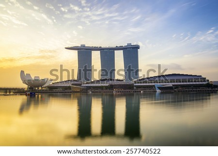 Singapore JUNE 15 , Sunrise of Singapore Skyline and view of Marina Bay in the morningon 15 June 2013 - stock photo