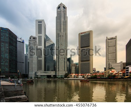 Singapore - June 18, 2016 : The city building of Singapore view from clark quay, Singapore on the cloudy day