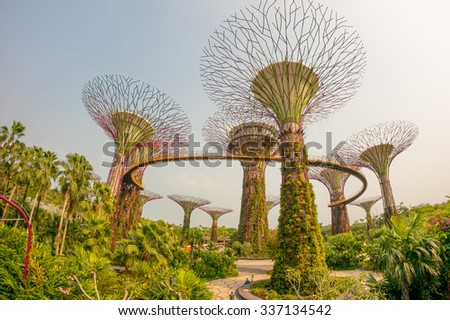 Singapore JUNE 15 , The Supertree at Gardens by the Bay on 15 June 2015 - stock photo