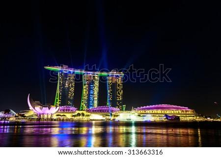 Singapore laser show skyline cityscape at night   , Singapore -17January 2015 - stock photo