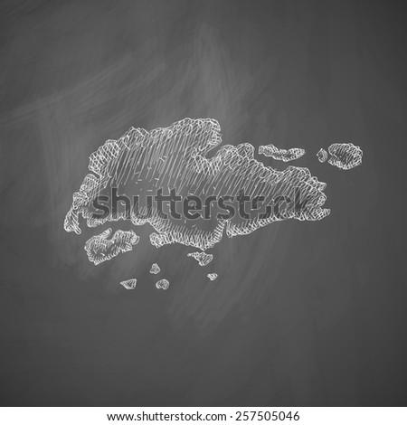 singapore map icon - stock photo