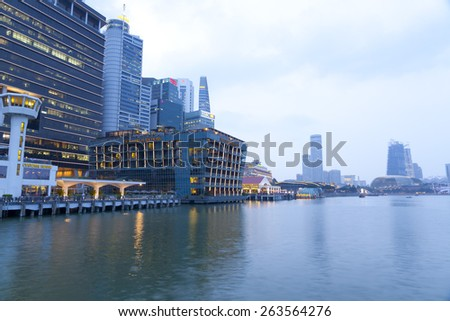 SINGAPORE - MAR 20 : The Fullerton Bay Hotel Singapore on March 20,2015 in Singapore. The Fullerton Bay Hotel Singapore is a five-star boutique hotel with address 1 Fullerton Square. - stock photo