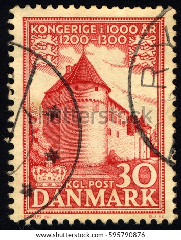 SINGAPORE – MARCH 8, 2017: A stamp printed in Denmark shows Nyborg Castle, circa 1953