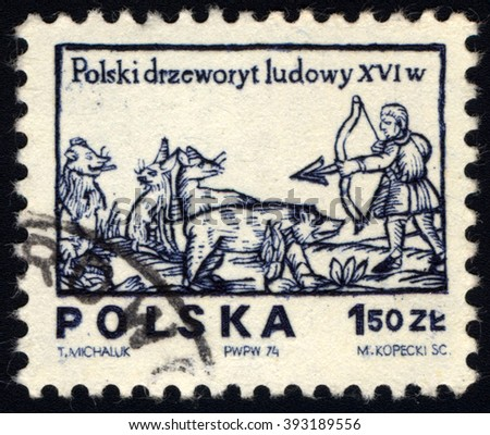 """SINGAPORE - MARCH 20, 2016: A stamp printed in Poland shows a hunter with bow and arrow, from the series """"Polish Folklore, circa 1974 - stock photo"""