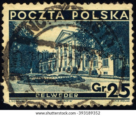 SINGAPORE - MARCH 20, 2016: A stamp printed in Poland shows Belweder Palace, Warsaw, circa 1935 - stock photo