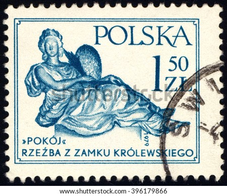 """SINGAPORE - MARCH 26, 2016: A stamp printed in Poland shows Sculpture from the Royal Palace """"Peace"""" by Andre Le Brun, circa 1979 - stock photo"""