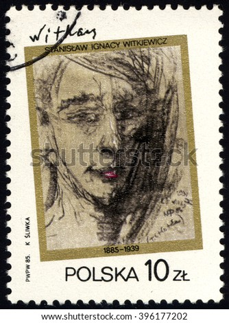 SINGAPORE - MARCH 26, 2016: A stamp printed in Poland shows Self-portrait of S.I.Witkiewicz, circa 1985. - stock photo