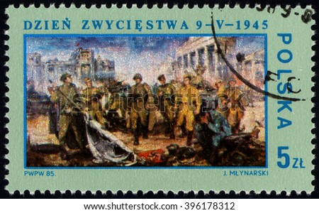 SINGAPORE - MARCH 26, 2016: A stamp printed in Poland shows Victory Berlin 1945, by J.Mlynarski, circa 1985 - stock photo