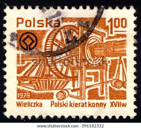 SINGAPORE - MARCH 26, 2016: A stamp printed in Poland shows Wieliczka Salt Mine - Mining Machinery, circa 1979. - stock photo