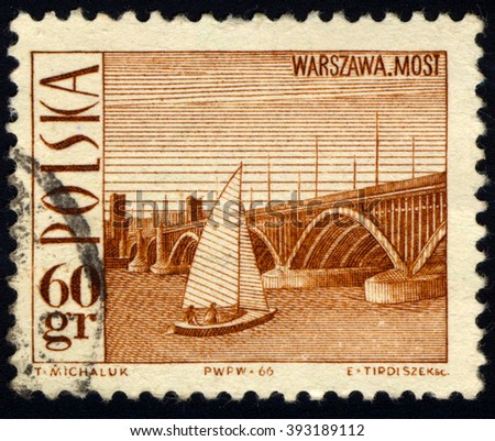 SINGAPORE - MARCH 20, 2016: A stamp printed in Poland to commemorate Tourism series shows Poniatowski Bridge, Warsaw and a sailboat, circa 1966 - stock photo