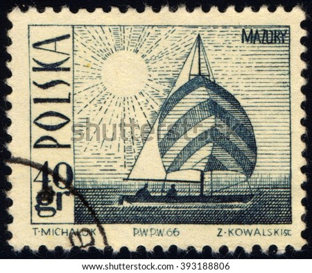 SINGAPORE - MARCH 20, 2016: A stamp printed in Poland to commemorate Tourism series shows sailboat, circa 1966 - stock photo