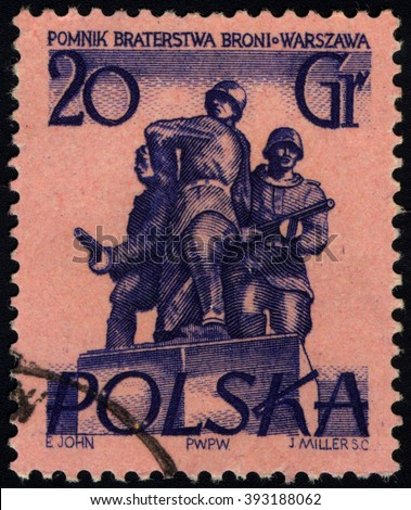 SINGAPORE - MARCH 20, 2016: A stamp printed in Poland to commemorate Warsaw Monuments issue shows Brotherhood in Arms, circa 1955. - stock photo