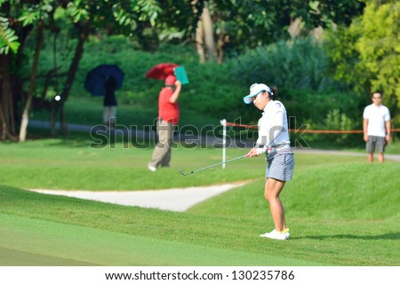 SINGAPORE - MARCH 2: Chie Arimura of Japan in action during the third round of the HSBC Women's Champions at the Sentosa Golf Club on March 2, 2013 in Singapore.