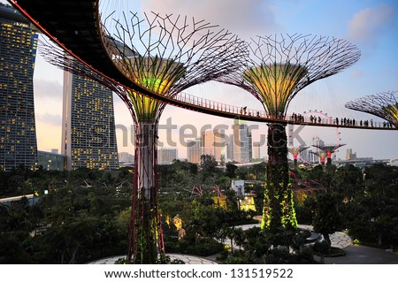 SINGAPORE - MARCH 05: Gardens by the Bay at dusk on March 05, 2013 in Singapore. Gardens by the Bay was crowned World Building of the Year at the World Architecture Festival 2012