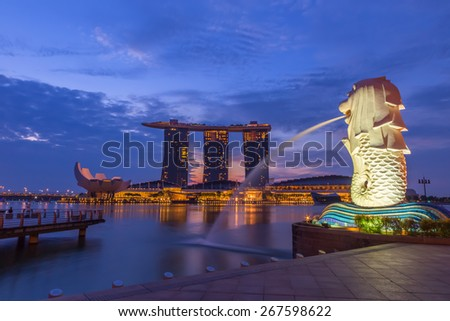 Singapore - March,15 2015: Landmark of Singapore city Merlion Statue at Marina Bay - stock photo